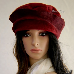 POLLY - design kalap / bordó filc - Meska.hu