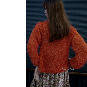 BORZI-KARDI / narancs - exkluzív kézzel kötött selyem kabátka, kardigán (brokat) - Meska.hu
