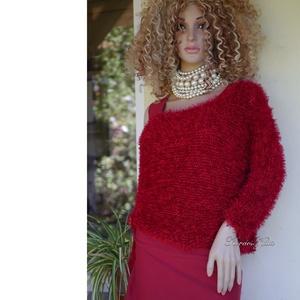 EVI / piros- exkluzív kézzel kötött selyem pulóver (brokat) - Meska.hu