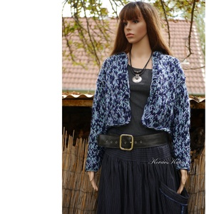 MARGÓ / tweed - trendi kézzel kötött gyapjúkabátka, kardigán  (brokat) - Meska.hu