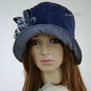 FRIDA CLOCHE - farmer design kalap , Táska, Divat & Szépség, Ruha, divat, Sál, sapka, kesztyű, Női ruha, Sapka, Varrás, Puha, bársonyos felületű farmerszövetből készült ez az 1920-as flapper divatját idéző, mélyen fejbe ..., Meska