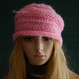 VIVIEN - bohém kötött sapka / pink (brokat) - Meska.hu