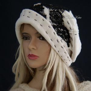 """SASKIA  - design-kalap L, Táska, Divat & Szépség, Női ruha, Ruha, divat, Sál, sapka, kesztyű, Sapka, Különleges - kabátszövet vastagságú - bolyhozott gyapjúszövetből terveztem kedvelt """"roggyantott-tete..., Meska"""