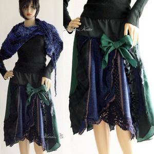 SILVINA - patchwork szövet-szoknya, Szoknya, Női ruha, Ruha & Divat, Varrás, Patchwork, foltvarrás, Válogatott kék és zöld gyapjú-szövetekből készült őszi-téli patchwork-szoknya.\n\nEgy bohém ruhatár lá..., Meska