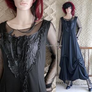 GERDA - artsy applikált jersey design ruha tüll-toppal, Ruha & Divat, Női ruha, Alkalmi ruha & Estélyi ruha, Varrás, Különleges , mellrészen applikált, alul elcsípésekkel formázott hosszú-ruha szép esésű hollófekete k..., Meska
