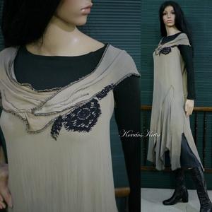 AVANTGARD - artsy design-ruha, Ruha & Divat, Női ruha, Ruha, Festett tárgyak, Varrás, A művészi vintage stílus szerelmeseinek ajánlom ezt a különleges bordás-nehéz-selyemből tervezett, k..., Meska