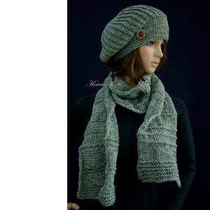 BORBÁLA-SZETT / zöld tweed kézzel kötött sapka sállal - ruha & divat - sál, sapka, kendő - sapka & sál szett - Meska.hu