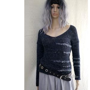 ALPAKA / BARKA - kézzel kötött extravagáns artsy-design pulóver / fekete, Ruha & Divat, Női ruha, Pulóver & Kardigán, Kötés, Meska