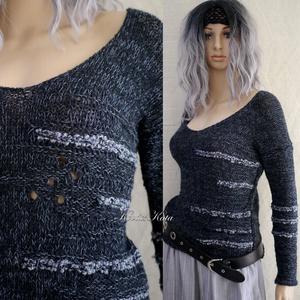 ALPAKA PULCSI - kézzel kötött extravagáns artsy-design pulóver BARKA/ fekete, Ruha & Divat, Női ruha, Pulóver & Kardigán, Ez a gyönyörű artsy design-pulóver igazi luxusdarab lehet egy extravagáns Nő ruhatárában.  Luxus min..., Meska