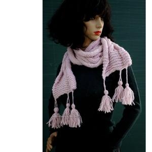 CSINGILINGI - kézzel kötött copfos alpaka sál / rózsaszín (brokat) - Meska.hu