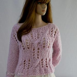 LOTTE - exkluzív kézzel kötött alpaka pulóver / rózsaszín, Ruha & Divat, Női ruha, Pulóver & Kardigán, Pihe-puha habos, dús csipke-pulóver kézzel kötve alpaka- és alpaka-buklé fonalakból.  Látványos,mele..., Meska