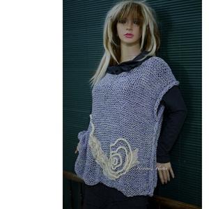 ARTSY-PULCSI - applikált kötött pamut-pulóver / levendula (brokat) - Meska.hu