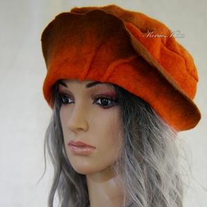 POLLY / ORANGE - design-filckalap , Ruha & Divat, Sál, Sapka, Kendő, Kalap, Filcből készült narancs színű design-kalap kézzel festett szélezéssel. Béleletlen, keményített- extr..., Meska
