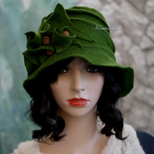 ZORA / erdő-zöld - flapper design filc-kalap  - Meska.hu