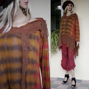 'BOHÉM ŐSZ' JERSEY TUNIKA - lagenlook design felső, Ruha & Divat, Női ruha, Tunika, Ez a különleges, őszi hangulatú darabom batik-mintás finom pamut-jerseyből készült, kézzel festett s..., Meska