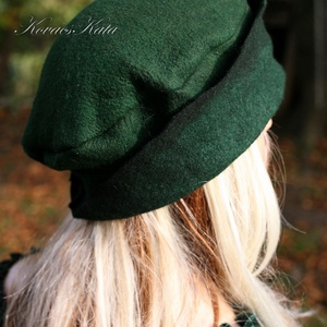 POLLY -  design  filc kalap / sötétzöld (brokat) - Meska.hu