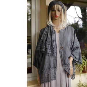SZABINA - bohém lagenlook kabátka / antracit, Ruha & Divat, Női ruha, Bolero, Csíkos, könnyű flax lenszövetből készítettem ezt a lagenlook (réteges öltözködős) kabátkám.. Alján k..., Meska
