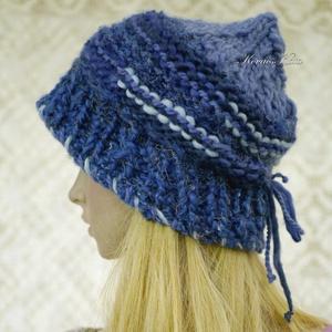 LUCA-SAPI / kék - bohém kézzel kötött gyapjú sapka  (brokat) - Meska.hu