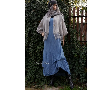 KIM / farmerkék - lagenlook design ruha XXL, Ruha & Divat, Női ruha, Ruha, Varrás, Festett tárgyak, Nagyméretű hölgyeknek ajánlom - a réteges öltözködéshez - ezt az extravagáns modellemet:\n\nJapánujjú,..., Meska