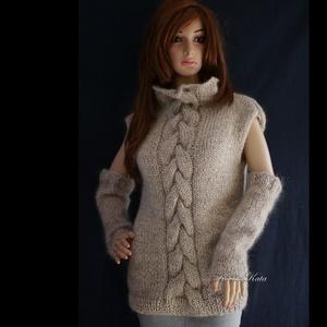 NESSY-SZETT - exkluzív kézzel kötött téli pulóver kesztyűszárral, Ruha & Divat, Női ruha, Pulóver & Kardigán, Kötés, Meska