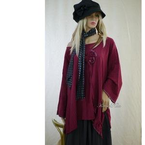 MARGO - bohém lagenlook len-tunika / bordó - ruha & divat - női ruha - tunika - Meska.hu