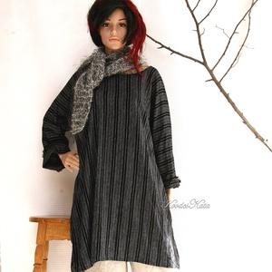 T-SHIRT-DRESS - lenszövet tunikaruha, Ruha & Divat, Női ruha, Tunika, Rusztikus elegancia: Fekete-fehér közepes vastagságú lenszövetből terveztem ezt az egész évben jól h..., Meska