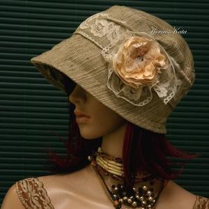 MARIE cloche - artsy lenszövet flapper kalap - ruha & divat - sál, sapka, kendő - kalap - Meska.hu