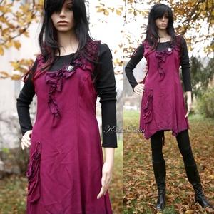 MAGGIE - design-kötényruha, Női ruha, Ruha & Divat, Ruha, Varrás, Festett tárgyak, Princessz szabású aszimmetrikus kötényruha leveles-fodros díszítéssel zsebbel, fekete lockkal szegve..., Meska