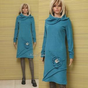 D E S I G N  -  R U H Á K ....................TÜRKIZ-VIRÁG - polár pulóverruha, Női ruha, Ruha & Divat, Ruha, Varrás, Foltberakás, Vékony Nőknek ajánlom ezt a türkiz színű puha polárból készült, alakot követő meleg pulóverruhám.\nSz..., Meska