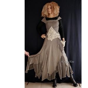GINGER - shabby chic patchwork ruha, Ruha, Női ruha, Ruha & Divat, Varrás, Festett tárgyak, Különleges, selyemmel szőtt, szép esésű lenszövetből terveztem ezt a különleges patchwork ruhát, fes..., Meska