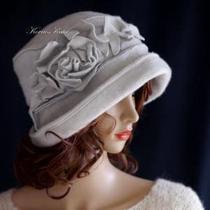 BLANCHE - art deco filc kalap / halványszürke (brokat) - Meska.hu