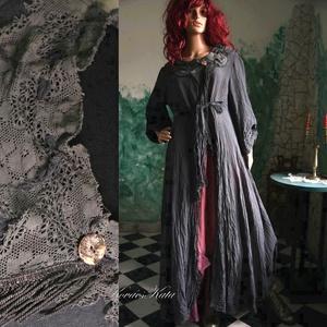 BOSZIKÖPENY - romantikus lagenlook hosszú ruha, gézkabát, Ruha & Divat, Női ruha, Ruha, Varrás, Festett tárgyak, Különleges, részletgazdag, hosszú kabát vastagabb pamutgézemből.\nA mintadarabot antracit-szürkére ké..., Meska