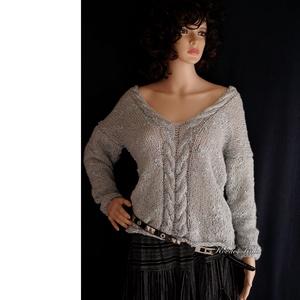 LIZA / palakék - exkluzív kézzel kötött  pulóver, Ruha & Divat, Pulóver & Kardigán, Női ruha, Kötés, Meska