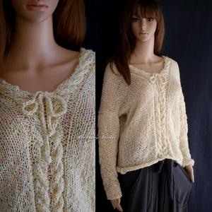 LIZA / vanília - exkluzív kézzel kötött  pulóver, Ruha & Divat, Női ruha, Pulóver & Kardigán, Kötés, Meska