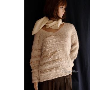 ALPAKA/BARKA - kézzel kötött extravagáns artsy-design pulóver / bézs, Ruha & Divat, Női ruha, Pulóver & Kardigán, Kötés, Meska