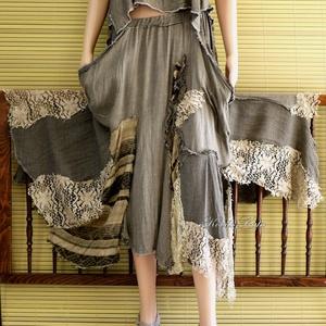 GINGER-SZETT - bohém patchwork szoknya toppal, Női ruha, Ruha & Divat, Ruha, Varrás, Festett tárgyak, Különleges, selyemmel szőtt, szép esésű lenszövetből terveztem ezt a különleges patchwork kétrészest..., Meska