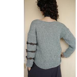 ALPAKA/BARKA - kézzel kötött extravagáns artsy-design pulóver / jade (brokat) - Meska.hu