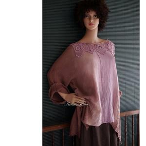ARTSY GÉZTUNIKA - batikolt design tunika vintage csipkével / orgona - ruha & divat - női ruha - tunika - Meska.hu