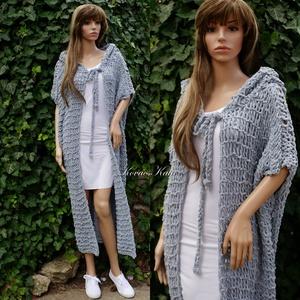 ZSENI / szürke XL - extravagáns zsenília kapucnis hosszú kardigán - kézzel kötött  - ruha & divat - női ruha - pulóver & kardigán - Meska.hu