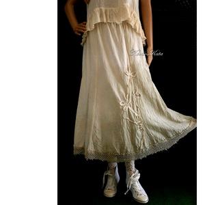 ELLI - shabby chic vászonszoknya - ruha & divat - női ruha - szoknya - Meska.hu