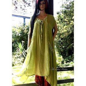 LEVÉLRUHÁK: HÉLIA - artsy lagenlook design ruha SZÍNEKBEN, Ruha & Divat, Női ruha, Ruha, Kényelmes, laza, extravagáns, részekből szabott, batikolt ruháim könnyű, rusztikus - gézesen szőtt -..., Meska