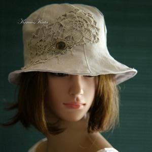 BELLA - romantikus nyári lenvászon kalap, Ruha & Divat, Sál, Sapka, Kendő, Kalap, Varrás, Natúr lenvászonból készült, részekből szabott, kis-karimás kalapocska. \nAntik horgolás-vágattal és \'..., Meska