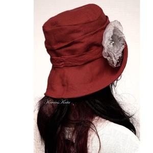 RÓZA - lenvászon design kalap  - Meska.hu