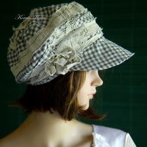 DERBY - shabby chic patchwork sapka / kék kockás - Meska.hu
