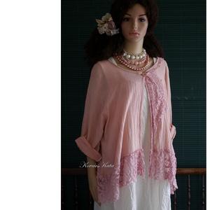 """ANTIK-RÓZSA - romantikus lagenlook kabátka, Ruha & Divat, Női ruha, Bolero, Festett tárgyak, Varrás, Rusztikus, vastagabb gézemből és vintage klöpli-csipkéből készült, \""""sápadt\""""antik-rózsaszínre kézzel ..., Meska"""