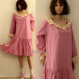 KAMILLA - pink pöttyös flapper-ruha - Meska.hu