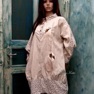 KOLIBRI - design-tunika XXL, Ruha & Divat, Női ruha, Tunika, Varrás, Finom pasztell fantázia-tunika pöttyös-virágos puha vászonból.\nRátétekkel, kényelmes foltzsebbel, la..., Meska