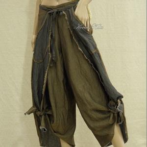 GALINA - extravagáns szárongnadrág , Nadrág, Női ruha, Ruha & Divat, Varrás, Csoki-barna-szürke, rusztikus len-selyem-szövetből tervezett, csomózott aljú szárong-nadrágom szárny..., Meska