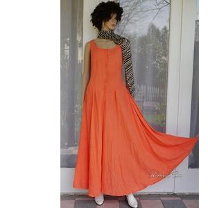 KIRA - romantikus design-ruha / korall, Ruha & Divat, Női ruha, Ruha, Festett tárgyak, Varrás, Meska