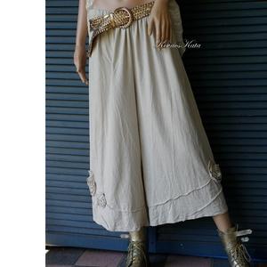 FUTÓRÓZSA - artsy lagenlook lenvászon nadrág / bézs, Ruha & Divat, Női ruha, Nadrág, Varrás, Lagenlook öltözeteim stílusos, jól használható darabja ez az applikált rózsás, puha mosott lenvászon..., Meska